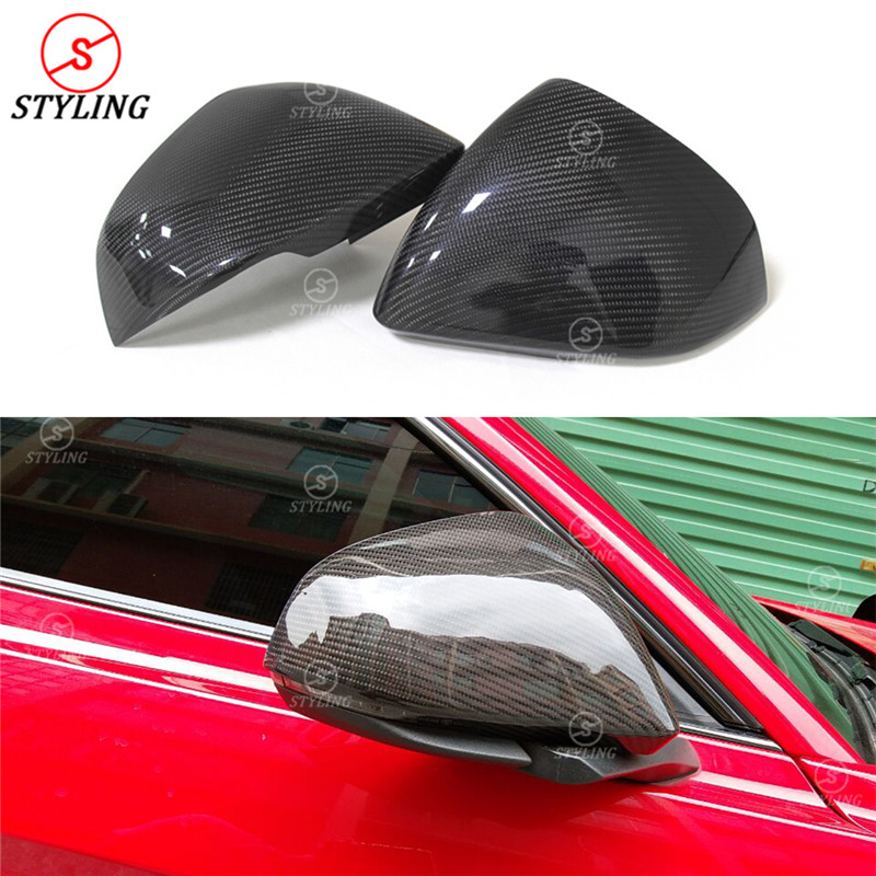 For Ford Mustang Euro Model Carbon Fiber Mirror Cover Rear Side View Mirror Cover with Tuning Single Light Add On style 2014 -UP yandex w205 amg style carbon fiber rear spoiler for benz w205 c200 c250 c300 c350 4door 2015 2016 2017