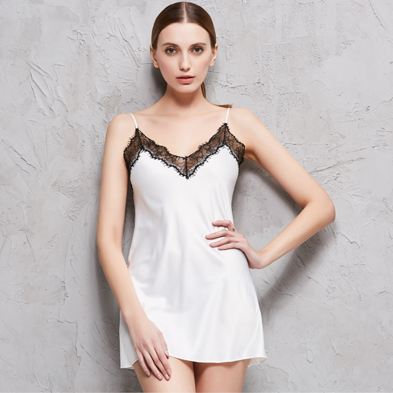 2018 NEW Faux Silk Nightgowns Women Sleepwear Sexy Charming Satin SILK Sling Nightdress Female Summer Sleeping