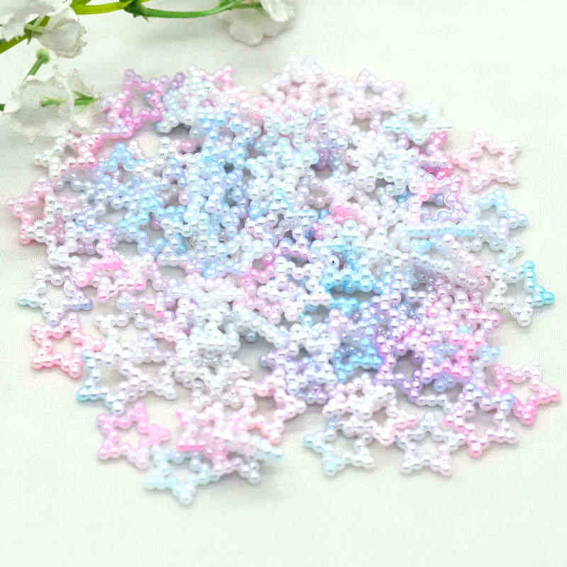 11mm 100pcs Flatback Unicorn Color Pearl Stars|Home Crafting Pearl Stars|Party Decoration Pearls|Slime Fillers