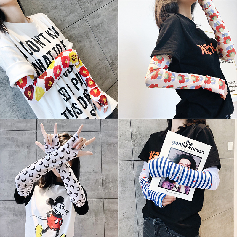 Women Cooling Arm Sleeves Wristlet Warmers Cuffs UV Protection Sleeves For Cycling Basketball Football Running Sports