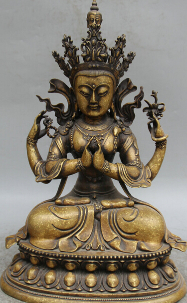 Dr524 14 Tibet Buddhism Copper Seat 4 Arms Chenrezig Buddha Avalokiteshvara Statue