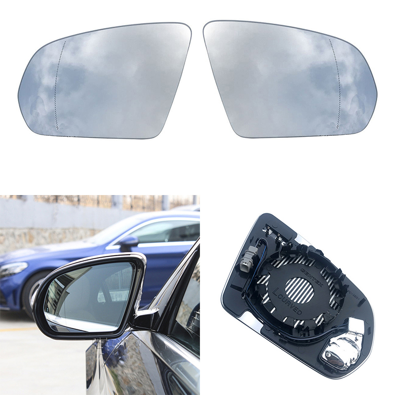 Replacement Heated Blind Spot Warning Rear Mirror Glass For Mercedes Benz C E S GLC Class