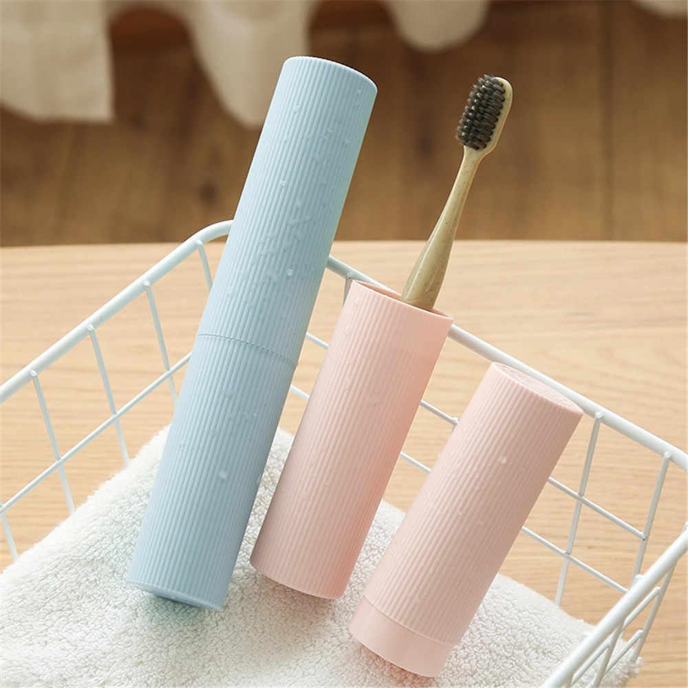 Moda przenośny pojemnik na szczoteczkę do zębów podróży Camping szczoteczka do zębów pasta do zębów pojemnik z tworzywa sztucznego organizator do łazienki 1pc