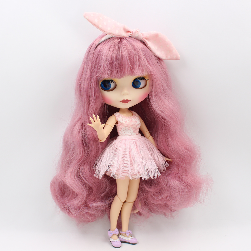 Blyth bjd Nude Doll Pink hair with bangs Matte face Suitable For DIY Bjd 1/6 blyth joint body doll toys blyth nude doll joint body with long wavy white hair 4 colors big eyes 1 6 bjd blyth dolls suitable diy makeup toys