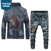 Spring 2019 Newest Fashion Men's Sets Vintage Embroidery Punk Style Long Sleeve Campera Hombre Hole Ripped Denim Pants Man Suit