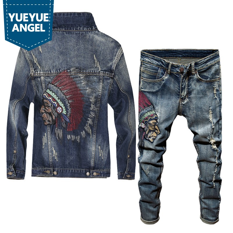 Spring Newest Fashion Men's Sets Vintage Embroidery Punk Style Long Sleeve Campera Hombre Hole Ripped Denim Pants Man Suit