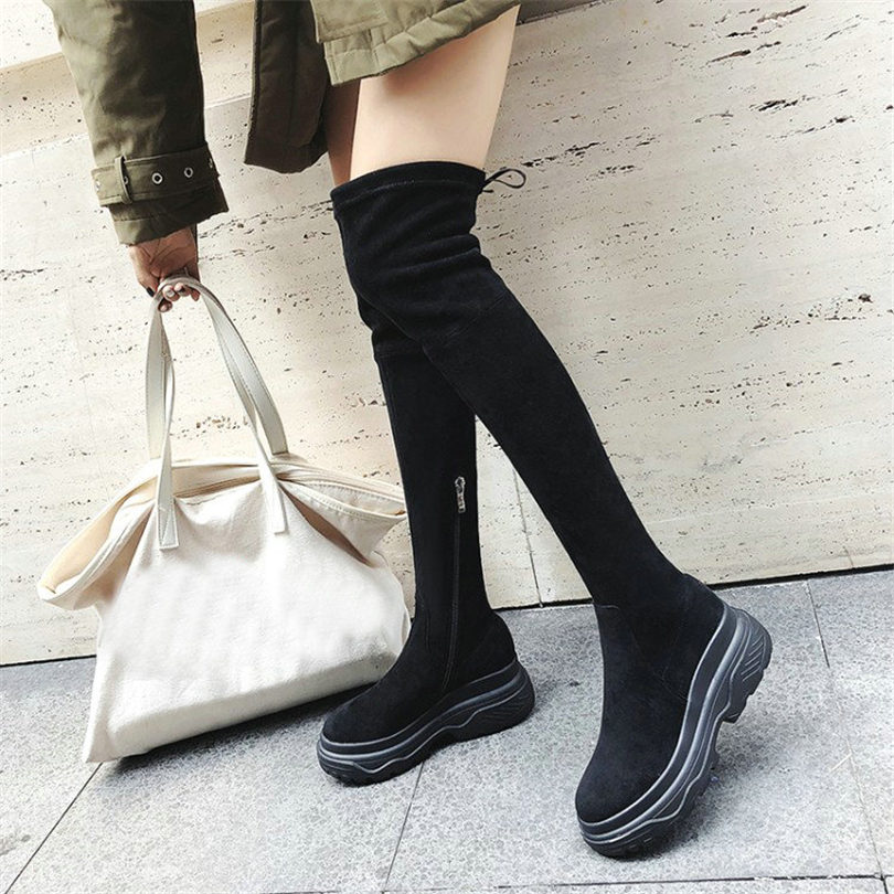 NAYIDUYUN Elastic Thigh High Sneakers Women Leather Wedges Over The Knee Boots Round Toe High Heel Greepers Punk Pumps Shoes women shoes scarpe donna elastic boots botines mujer sapato feminino round toe chaussure femme schoenen vrouw over knee boots