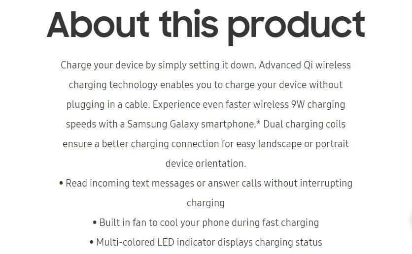 Samsung rápido cargador inalámbrico Qi de carga rápida 2