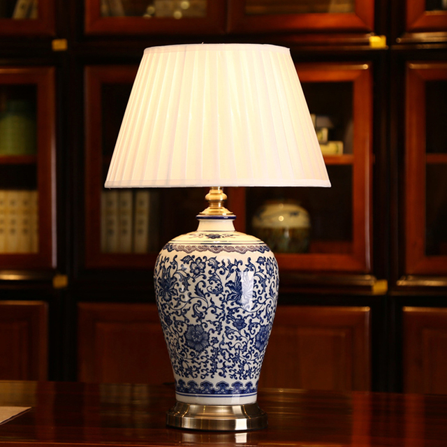 Dimmable Blue And White Porcelain Desk Lamps China Flower Cemaric Reading Lamp Home Indoor Lighting Bedroom Bed Side Table Light