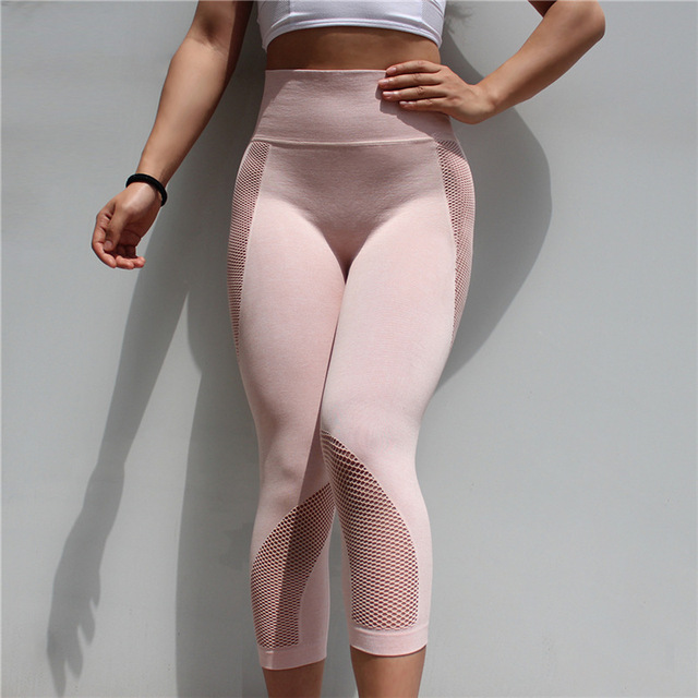 Colorvalue Seamless Mesh Running Sport Tights Women Mention Hip Gym Yoga Capri Pants Tummy Control Fitness Athletic Leggings 2
