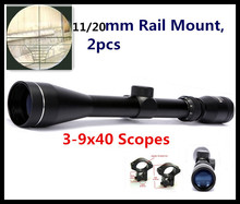 Cheaper 3-9×40 Tactical Riflescope Hunting Air Gun Aiming Telescopic Sight Optics Rifle Firearms Optical Scope + 11 / 20 mm Free Mount