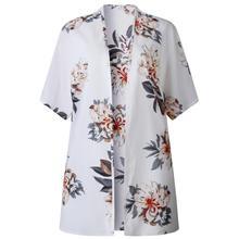 цены на Kimono Cardigan Women Long Chiffon Floral Print Kimono Mujer Kimonos Plus Size Blouse 2019 Summer Beach Harajuku Femininas 19A23  в интернет-магазинах