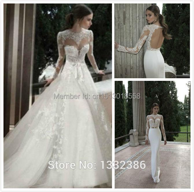 Lace Wedding Dress Detachable Skirt