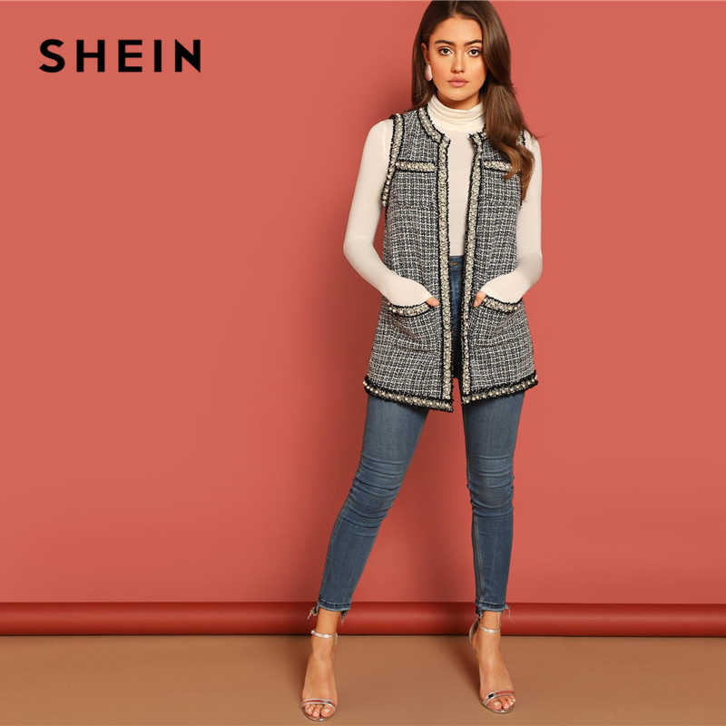 334a866be6 ... SHEIN Black and White Pearl Beaded Frayed Trim Open Stitch Tweed Shell  Vest Sleeveless Coat Women