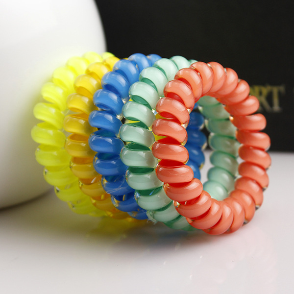 5 piecs Colors Telephone coil Colored Elastic Hair Bands For Girl Hair Scrunchy with a small gift headband headwear