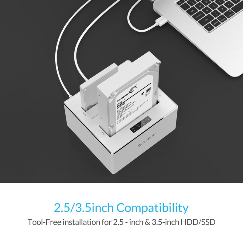 ORICO USB 3.0 naar SATA 3.0 dual-bay HDD docking station aluminium - Externe opslag - Foto 2