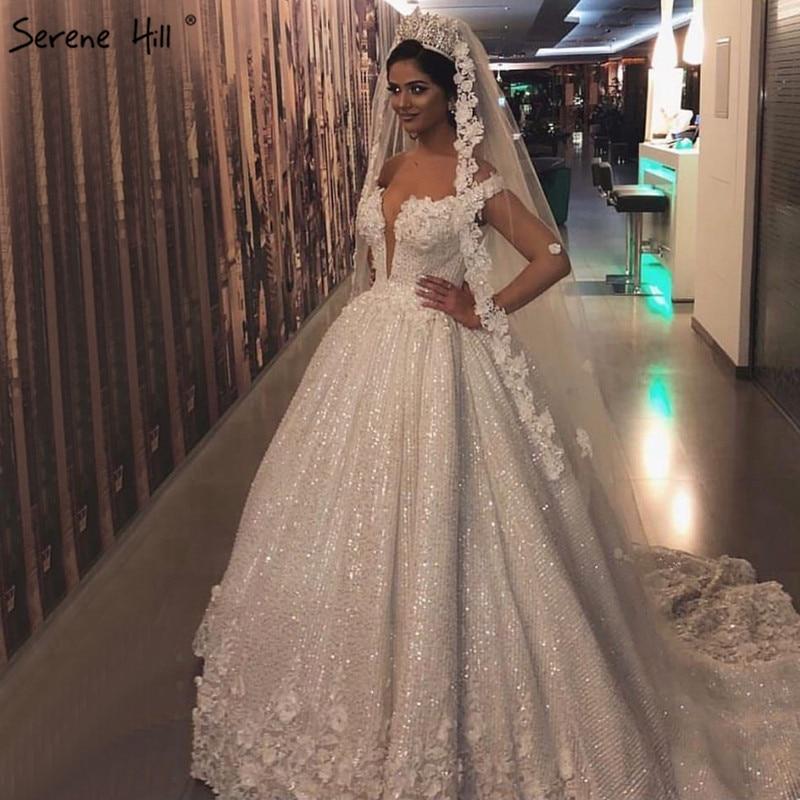 Dubai Design White Luxury Vintage Wedding Dresses 2018 Off
