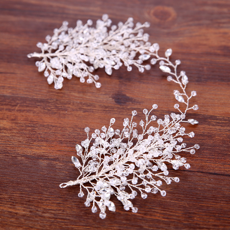 Luxury Wedding Bridal Rhinestone Beads Headband Tiara Hair Chain Headpiece Magnificent Crystal Hair Accessories Bridal Tiaras