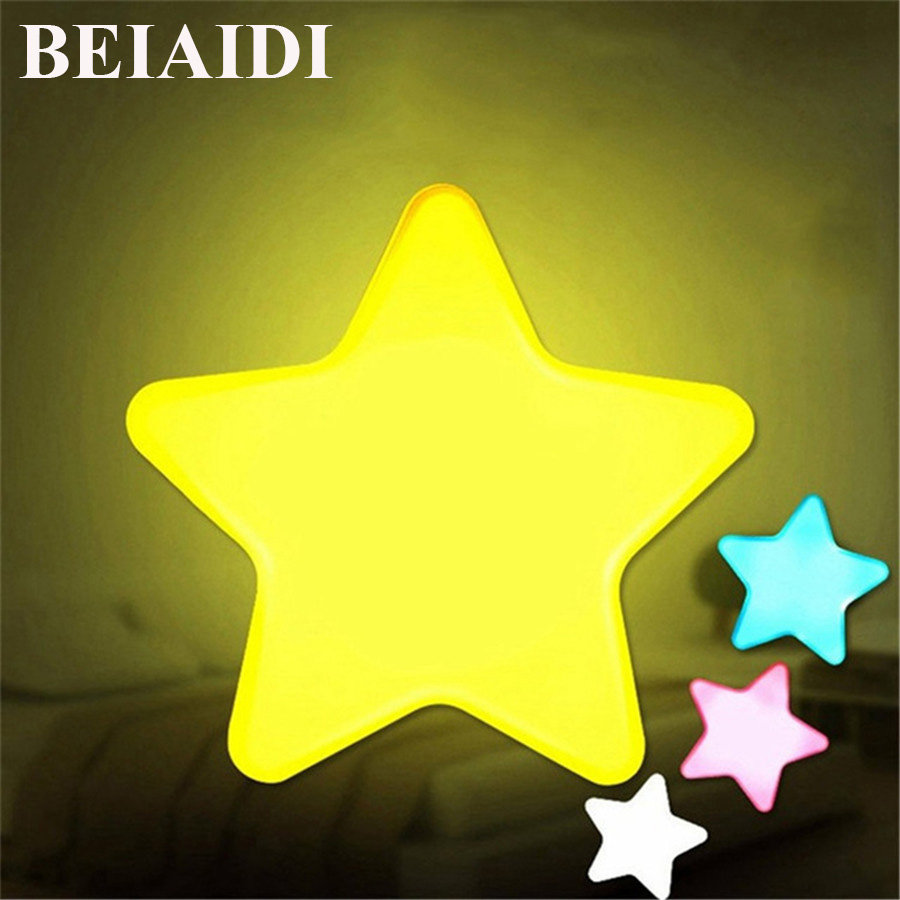 BEIAIDI Star LED Night Light With Light Sensor 0.5W Soft Wall Sleep Light For Baby Kids Bedroom Mini Baby Feeding Night Lamp
