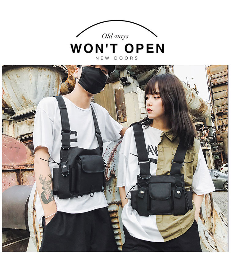 HTB1 KUeX.Y1gK0jSZFCq6AwqXXaq - Fashion Bullet Hip Hop Streetwear Vest Chest Bag For Women Functional Waistcoat Tactical Bags For Men Black Chest Rig Bags 233