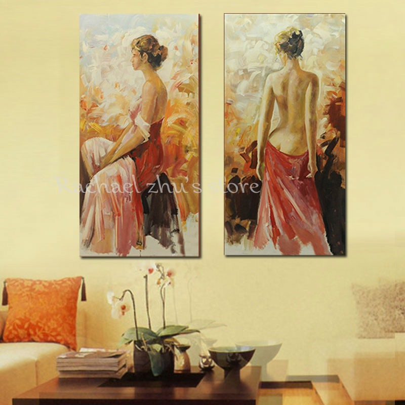 Hand Painted Modern Woman Oil Painting On Canvas Sexy Half naked Art ...