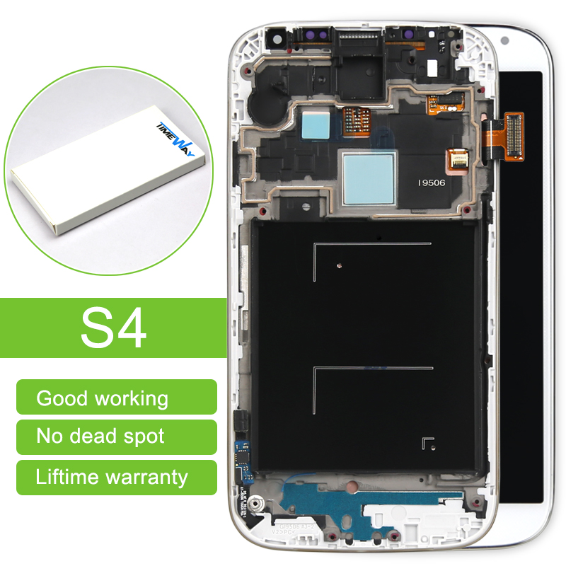 ФОТО alibaba china 10pcs Blue/White/Black For Samsung S4 i9500 I9505 LCD Display Touch Screen Digitizer With Frame assembly