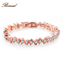 Romad Brand Rose Gold Bracelet S type Women Party Bracelet Fashion Jewelry Womens Rhinestone Wedding Bracelet