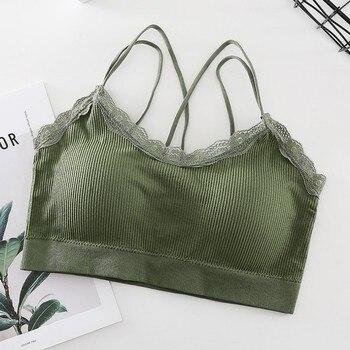 Summer Women Lace Bra Women Sleeveless Slim Tanks Crop Tops Sexy Strap Cross Tube Top Bra Camisoles