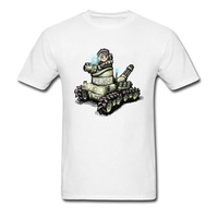 Cool Dominion Tank Police Cartoon T Shirts Cotton White Men Tee Shirt Short Sleeve Simple Style