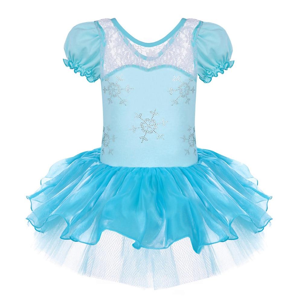 960742114793b1 Krótki Rękaw F. rozen Śnieżynkami Wzór Księżniczka Elsa Dziewczyny  Dancewear Balet Sukienka Trykot Wydajność Etap Sukienka dla SZ2-8Yrs