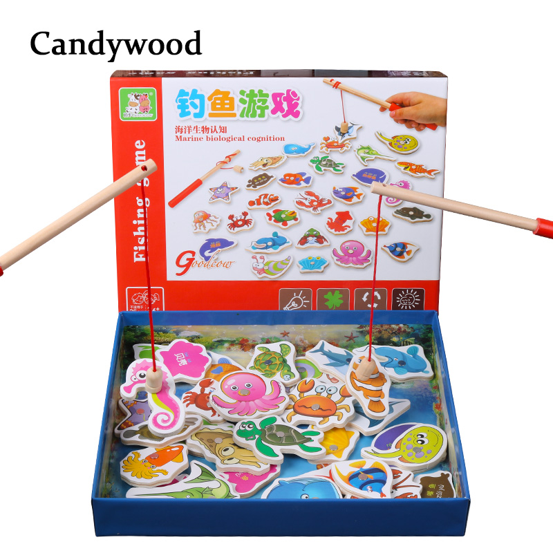 Candywood Kids Fishing Toys 32Pcs Fish Wooden Magnetic Fishing Toy Set Magnet Game Children Educational Toys For Boy
