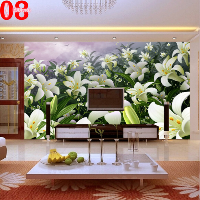 Modern brief lily photo wallpaper background wall kitchen for Kitchen wallpaper 3d