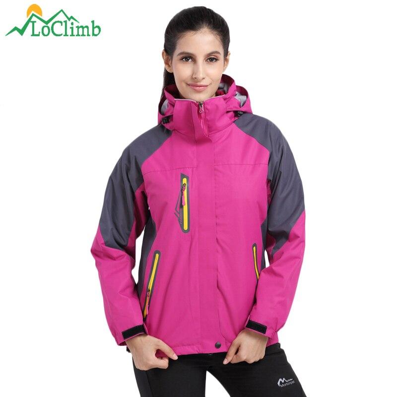 LoClimb 3 In 1 Winter Outdoor Hiking Jackets Women Waterproof Windproof Coat Outdoor Trekking Camping Women