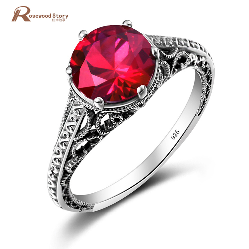 Romantic Wedding Ring 100 Handmade Real 925 Sterling Silver with Red Stones CZ Ring Attractive Design