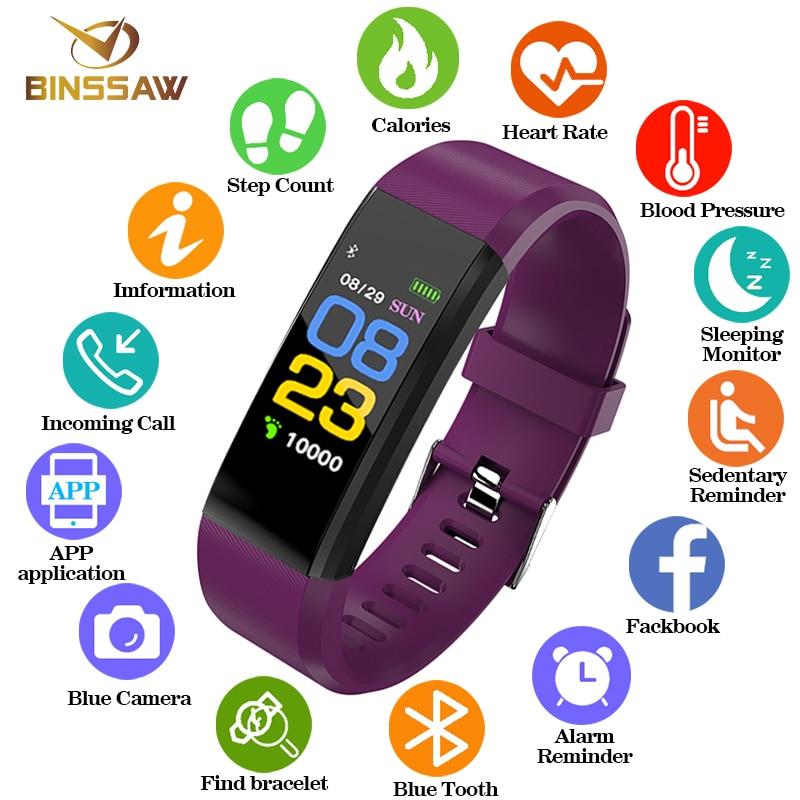 BINSSAW mujeres hombres chico de moda corazón inteligente Monitor de la presión arterial Fitness Tracker reloj relojes para ios android