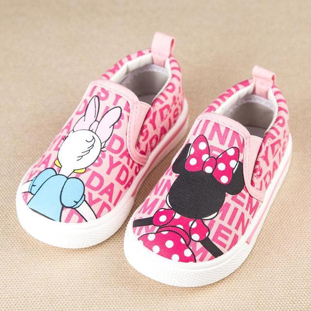 Zapatos de bebé de dibujos animados minnie daisy duck causales zapatos de lona planos para bebe recién nacido infantil 1-3yrs causal zapatos al aire libre de la venta caliente