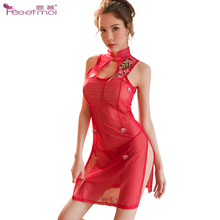 Classical Rose Embroidered Sexy Lingerie Hot Erotic Underwear Cheongsam Transparent Women Stand Collar Sex Dress