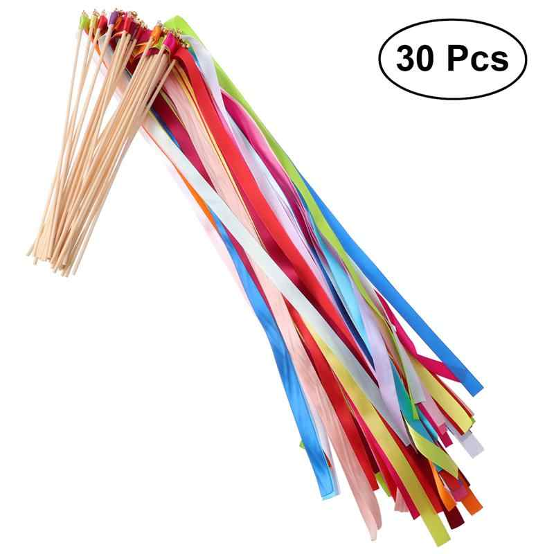 30pcs Ribbon Wands with Bell Soft Streamer Fairy Stick Wish Wands for Wedding Holiday Party Celebration