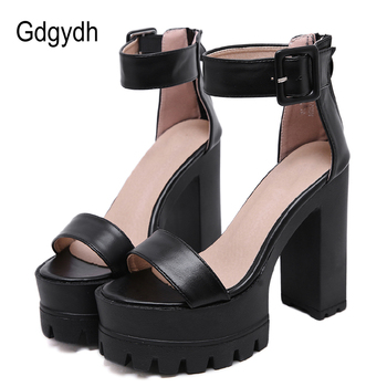 Gdgydh Open Toe Women Sandals High Heels 2020 New Summer Black Leather Women's Shoes For Party Platform Female Hot Sale - discount item  50% OFF Women's Shoes