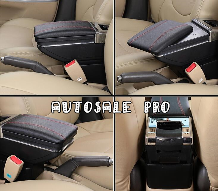 Plastic Pu Leather Black Storage Box Centre Console Armrest for Ford Ecosport 2013 2014 2015 car armrest box central store content box products armrest storage center console accessories for ford ecosport 2013 2014 1pc