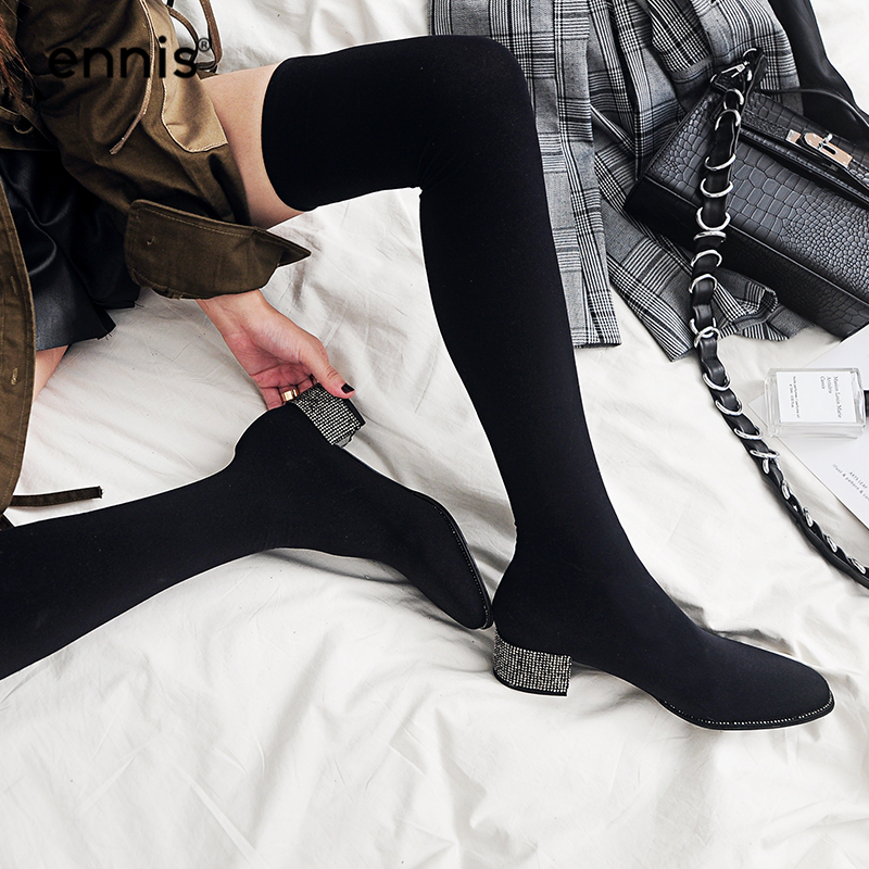 ENNIS 2019 Slim Fit Black Over The Knee Sock Boots Women Thigh High Boots Sexy Rhinestone Heel Stretch Boots Autumn Shoes L734