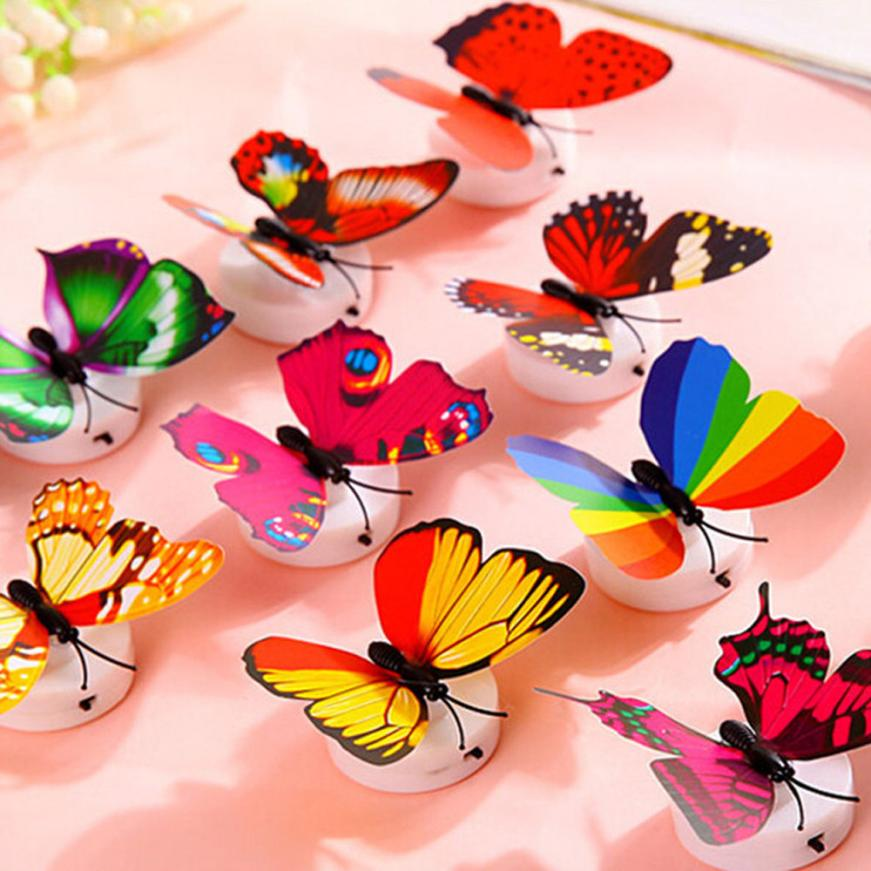 2018 1 Pcs Wall Stickers Butterfly LED Lights Wall Stickers 3D House Decoration Free Drop Shipping JA22