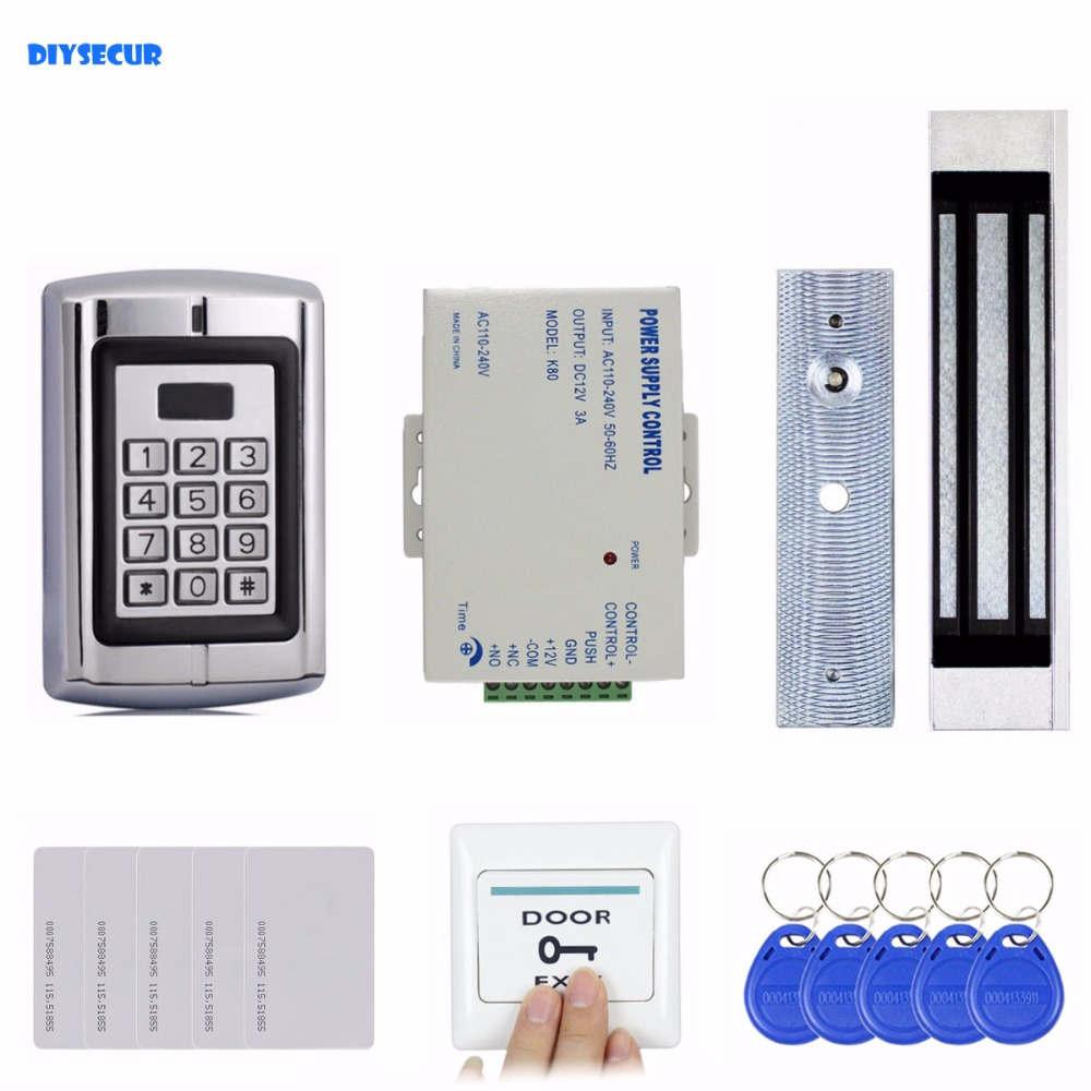 DIYSECUR 180KG Magnetic Lock 125KHz RFID EM ID Card Reader Passwork Metal Keypad Door Access Control System Kit BC2000 lpsecurity 125khz id em or 13 56mhz rfid metal door lock access controller with digital backlit keypad ip65 waterproof