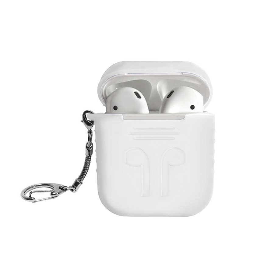 Bảo vệ Trường Hợp đối với Apple airpods Bìa Da Silicone Bay + Thép Không Gỉ Móc Chìa Khóa Sáu Màu Sắc 3nd Thế Hệ cho Không Khí vỏ