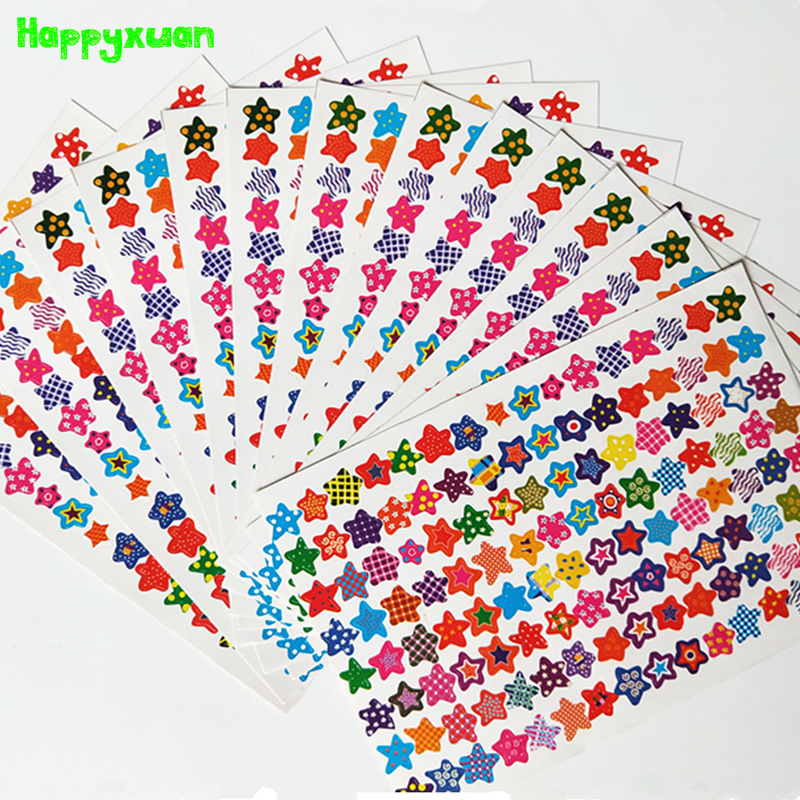 Happyxuan 20sheets pack Stickers Stars for Scrapbook Paper Rewards Teacher Kindergarten Student Praise Encourage Kid Toy