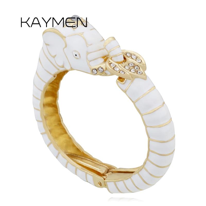 2018 New Animal Style Elephant Bangle Bracelet for Women Inlaid Rhinestone Enamel Cuff Bangle 2 Colors Party Jewelry(China)