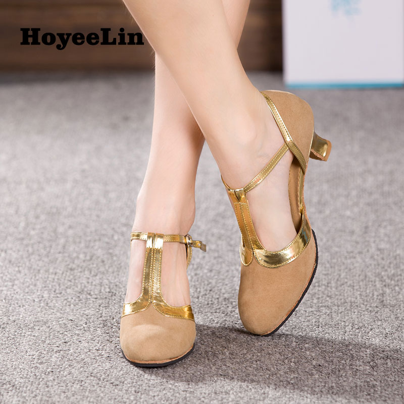 Image 3 - New Women Ladies Ballroom Party Modern Dance Shoes Closed Toe Indoor Suede Sole Waltz Tango Salsa Dancing Heels 3.5/5.5/7cm-in Dance shoes from Sports & Entertainment