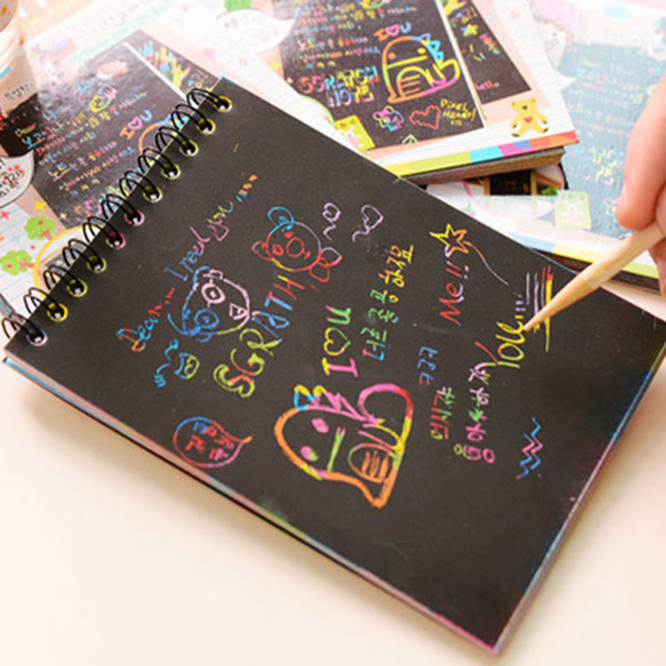 DIY Creative Graffiti Notebook Black Page Magic Drawing Book Painting Notepad for Kids Stationery Gift ножницы diy page 8