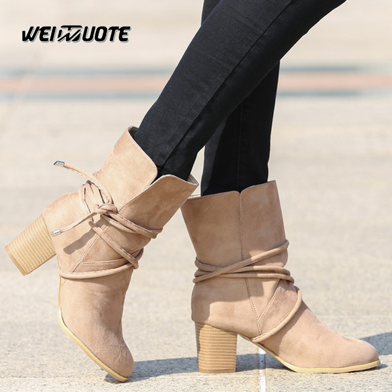 Detail Feedback Questions about Spring Winter Boots dr Martens woman boots  Suede Leather Ankle boots heels women Shoes Snow boots Botas femme  Chaussure on ... cb00d272f6fa