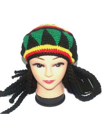 Jamaïcain Bob Marley Rasta bonnet fantaisie Cap tresses mauvaises herbes reggae enveloppe cheveux africaine tressage dans Skullies  Bonnets de Hommes de